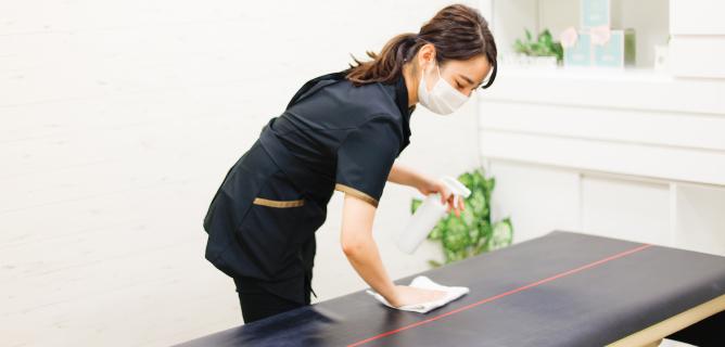店内清掃と消毒の徹底